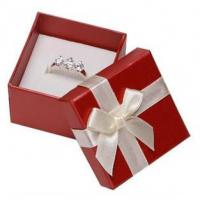 White Ribbon Jewelry Paper Boxes Red Printing Eco Friendly Material For Ring Gifts