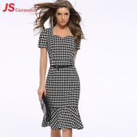Quality 20713 Houndstooth Fishtail Gown Summer Party Fashionable Dress For Fat Women for sale