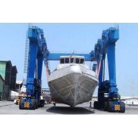 Quality Yello Blue Rubber Tyred Gantry Crane For Boat Yacht Handling Electric Motors Driving for sale