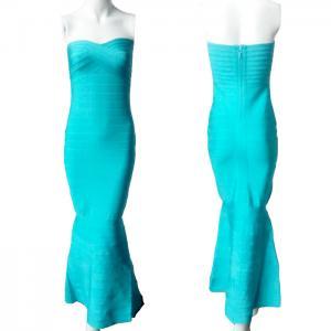 Quality Royal ladies blue strapless fishtail mermaid long tight bridesmaid dress for sale