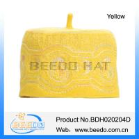 China Embroidery wool felt yellow fez hat on sale