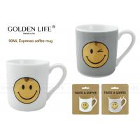 Buy cheap Smiling Face Ceramic Travel Coffee Mugs , Cappuccino Mug Straight Shape 90cc from wholesalers