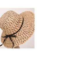 Black X Natural Womens Sun Hats , Flower Raffia Braid Hat For Party