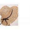 Black X Natural Womens Sun Hats , Flower Raffia Braid Hat For Party