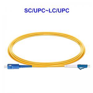 Quality OS2 1 Core Yellow Fiber Optic Cable , SC UPC LC UPC Fiber Optic Cord for sale