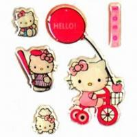Quality Epoxy Stickers in Hello Kitty Designs, Available in Various Shapes for sale