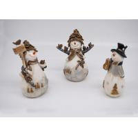 China Resin / Polyresin Crafts 3D Small Snowman Figurines Lovely For Home Decoration on sale