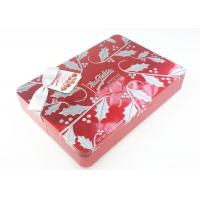 Quality Red Color Emboss Chocolate Metal Tin Case With Ribbon Bow And Gift Card for sale