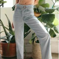 Quality Lapel Washed Womens High Waisted Jeans B1P0097 / Straight Leg Jeans Casual Style for sale