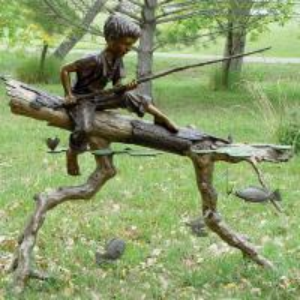 China Children Metal Sculpture Life Size Bronze Casting Fishing Boy Garden Statue on sale