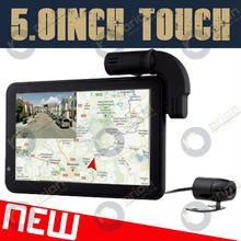 Quality HD720p 5inch car dual camera wth gps navigator Russia google maps GLONASS+GPS for sale