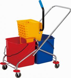 China Hotel Cleaning Noiseless 23L Double Mop Bucket Trolley on sale