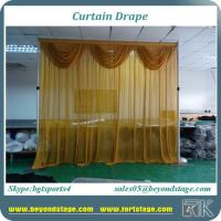 China Yellow color pipe and drape drape curtain with small wave decoration with chiffon fabric drape for sale on sale