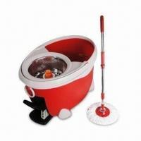 China Wet Mop with Water Holding Cover, PP Bucket and Mop Head, Available in Red on sale