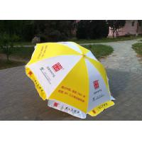 Quality Yellow And White Big Outdoor Umbrella , Commercial Custom Market Umbrellas for sale