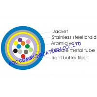 Quality Armored 12 core single mode fiber optic cable Distribution Type Tight Buffered With Braid for sale
