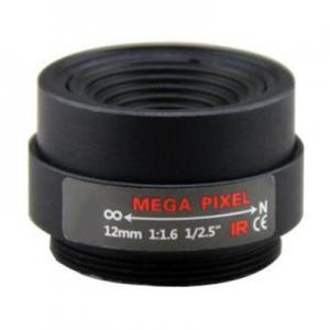 "Quality 1/2.5"" 12mm F1.6 3Megapixel CS-mount Fixed Focal IR Lens Megapixel Prime Lens for sale"