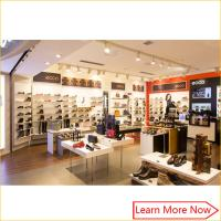Quality Customized fashion retail wall wood display shelf shoes store furniture for sale