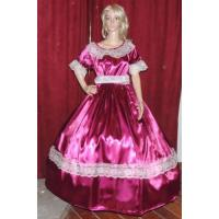 Quality Wholesale CIVIL WAR REENACTMENT VICTORIAN DICKENS SASS Burgandy Satin Costume Dress Gown for sale