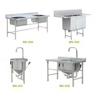 Quality Freestanding Stainless Steel Wash Sink , High End Restaurant Kitchen Sink for sale