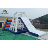 China Outdoor 0.9mm PVC Tarpaulin Giant Inflatable Water Toy Custom Color Floating Slide on sale