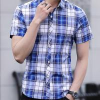 Quality Slim Fit Checkered Pattern Mens Casual Dress Shirts Short Sleeve Fast Drying for sale