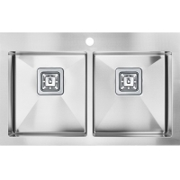 Quality Australian Style Double Bowl Stainless Steel Kitchen Sink Square Waste two r15 corner for sale