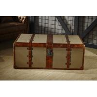 China Retro Canvas Lifted Cover Leather Steamer Trunk Coffee TableCopper Nails Decoration on sale