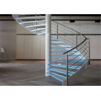 Quality Indoor Glass Sprial Staircase with Stainless Steel Railing for Small Space for sale