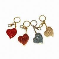 Quality Metal Heart-shaped Keychain with Crystal Stones, Various Colors are Available for sale