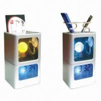 Quality LCD Light Calendar with Pen Holder, Business Card Case and Seven Color-changing Mood Clock for sale