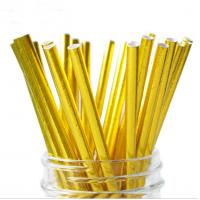 Quality Food Grade Gold Blocking Coloured Paper Straws , Decorative Drinking Straws Pass FDA for sale