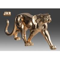Quality 130cm Leopard Sculpture Decor With Gold Leaf Finish Polyresin Animal Statue for sale