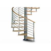 Quality Solid wood stair treadstainless steel railing sprial staircase for sale