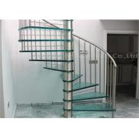 Buy cheap Modern Stylish Tempered Glass Steps Stainless Steel Frame Spiral Stairs Curved from wholesalers
