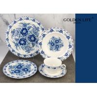 Quality 20-Piece Porcelain Tableware Set blue Decal Patterns Dinnerware Sets with Dinner Plate, Dessert Plate, soup plate, cup a for sale