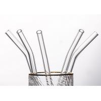Quality Clear Curved Glass Drinking Straws / Bent Glass Straws CE Certification for sale