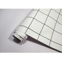 China Square Modern Self Adhesive Textured Wallpaper White Base Black Lines on sale
