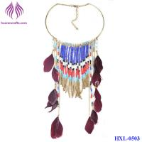 Quality Fashion bead tassel Pendant long Chain Feather Necklace for sale