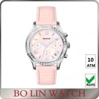 China Beautiful Genuine Leather Strap Ladies Stainless Steel Watch For Diving on sale