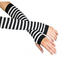 Quality White + Black Stripe Ladies Long Fingerless Gloves Pattern For Knitted Arm Warmers for sale