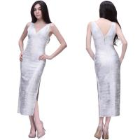 Quality Unique sparkle sexy silver deep v side slit long tight bridesmaid dress for sale