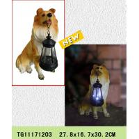 China New products polyresin dog figures rechargeable lantern for garden solar light on sale