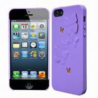 Quality Cellphone Cases for iPhone 5, Made of PC with Butterfly Design, Comes in Various Colors for sale