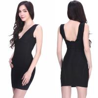 Quality 2014 sexy ladies elegant black v neck backless sleeveless short evening bandage dress for sale