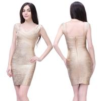 Quality Wholesale/retail high quality sexy ladies gold backless short tight evening dress for sale