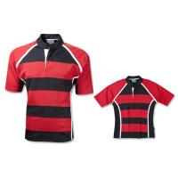 Quality OEM Short Sleeve Mens plain striped Rugby Shirts in Black and White for sale