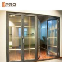 Buy Horizontal Aluminum Folding Doors For Kitchen With Double Tempered Glass folding doors with mosquito net at wholesale prices