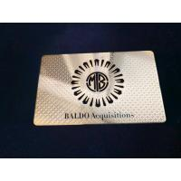 Buy cheap Single Side Metal Membership Card Stainless Steel Plated Gold Cut Thru Logo Etch from wholesalers