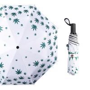 China Marijuana Cannabis Hemp Leaf Umbrella Compact Folding Rain Shield Accessory Protection Windproof Lightweight Umbrella on sale